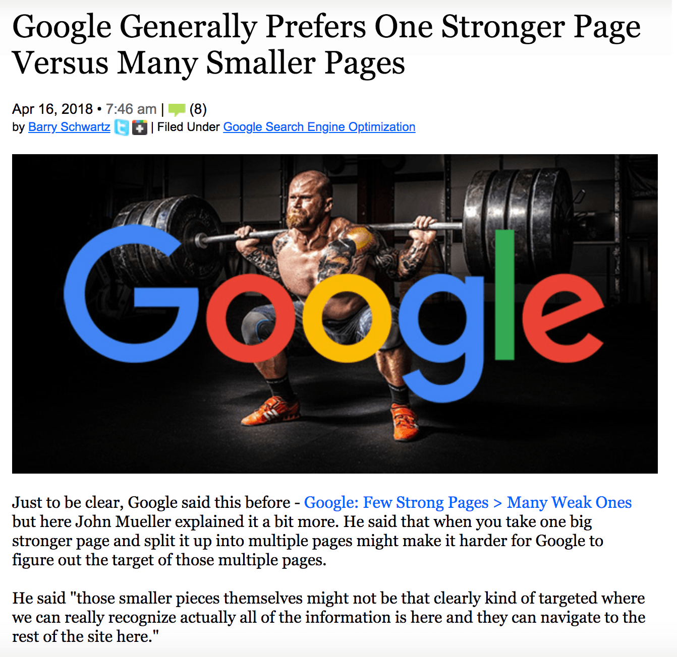 Google likes powerful pages